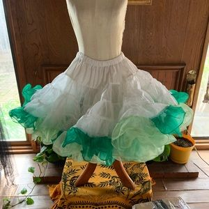 Vintage double layer petticoat shades of green